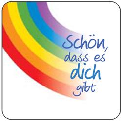 Magnet-Sticker 57x57 mm - Schön, dass es dich gibt - Regenbogen