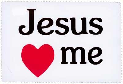 Brillenputztuch klein 15x10 cm - Jesus loves me