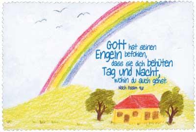 Brillenputztuch klein 15x10 cm - Regenbogen/Haus
