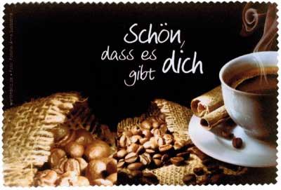 Brillenputztuch klein 15x10 cm - Schön, dass es dich gibt - Kaffee