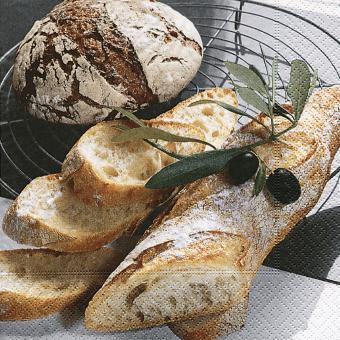 20er-Set Servietten 33x33 cm - Brot + Olive