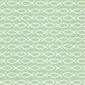 20er-Set Servietten 33x33 cm - Fische grün