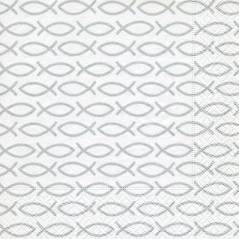 20er-Set Servietten 33x33 cm - Fische silber