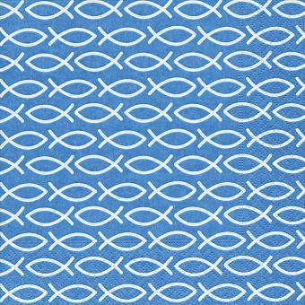 20er-Set Servietten 33x33 cm - Fische blau