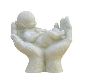Skulptur - Beschützt creme, Höhe 13 cm