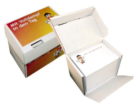 Notizzettelbox weiß - Mit Volldampf in den Tag