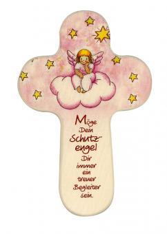 Kreuz 16 x 10 cm, rund - Engel auf Wolke