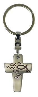 Schlüsselanhänger - Kreuz mit Fischen