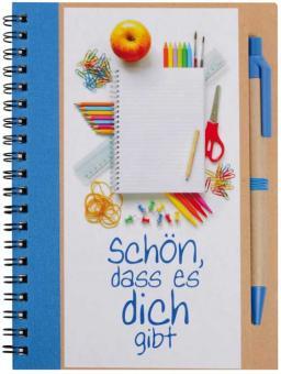 Notizbuch 14x18 blau m. Kuli - Schön, dass es dich gibt