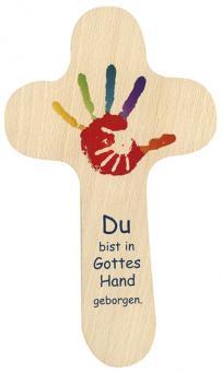 Holzkreuz 20 x 12 cm, rund - Du bist in Gottes Hand geborgen