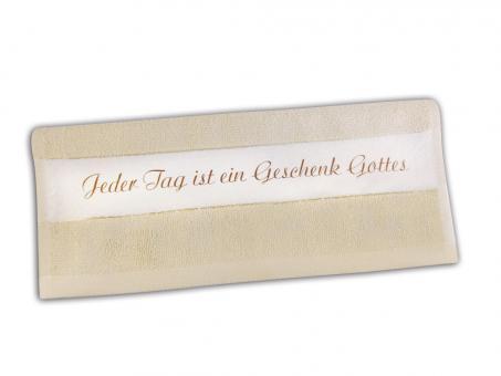 Geschenk-Set - Gästehandtuch beige & 100g Naturseife Traube-Heidelbeere