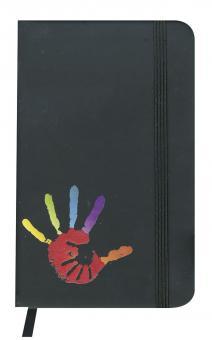 Notebook A6 schwarz - Hand in Hand - ohne Text
