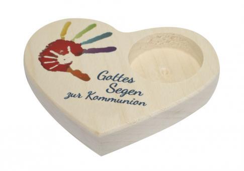 Teelicht-Halter Herz - Gottes Segen zur Kommunion