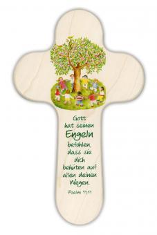 Holzkreuz 20x12 cm rund - Baum/Kinder