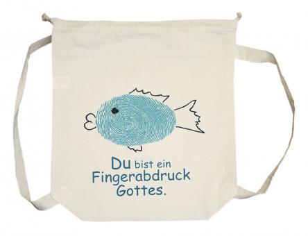 Rucksack Baumwolle - Fisch/Fingerabdruck