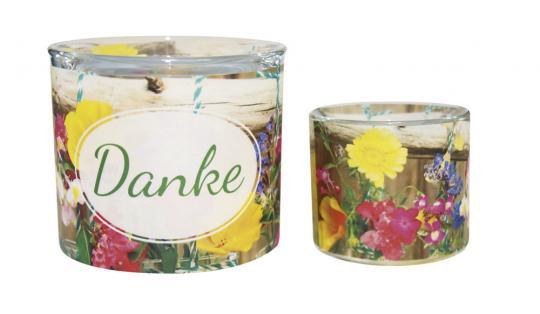Leuchtglas 8 cm - Danke - Blumen