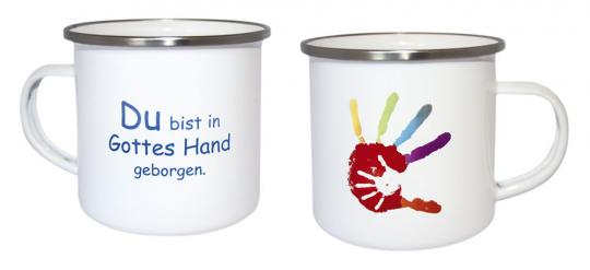 Emaille-Becher - Hand in Hand