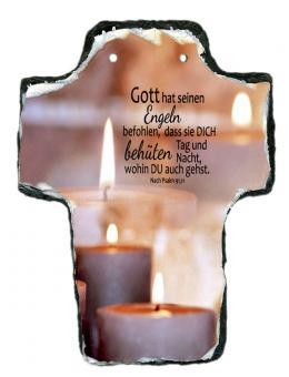 Schieferkreuz 16 x 20 cm - Kerzen