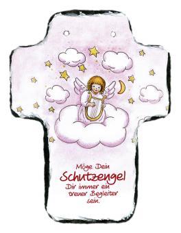 Schieferkreuz 16 x 20 cm - Engel auf Wolke rosa