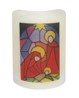 LED-Kerze Echtwachs - Heilige Familie