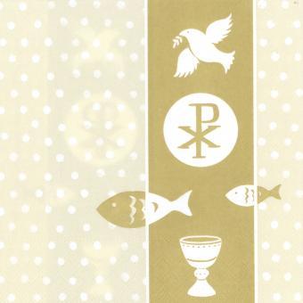20er-Set Servietten 33x33 cm - Christliche Symbole gold