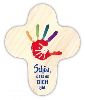 Holzkreuz 15 x 13 cm, rund - Hand in Hand