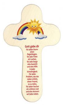 Holzkreuz 20 x 12 cm, rund - Regenbogen / Sonne - Gott gebe dir
