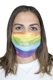 Mund-Nasen-Maske - Regenbogen - Schön, dass es dich gibt