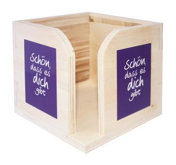 Zettelkasten aus Holz - Schön, dass es dich gibt