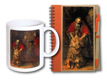 Geschenk-Set - Tasse & Notizbuch m. Kuli - Rembrandt - Der verlorene Sohn
