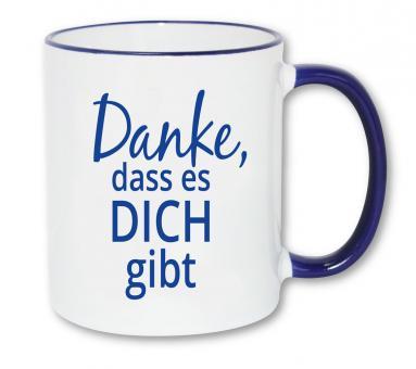 Fototasse blauer Rand/Henkel - Danke, dass es dich gibt