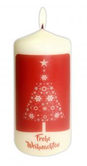 Kerze 13x6 cm - Sternenbaum - Frohe Weihnachten