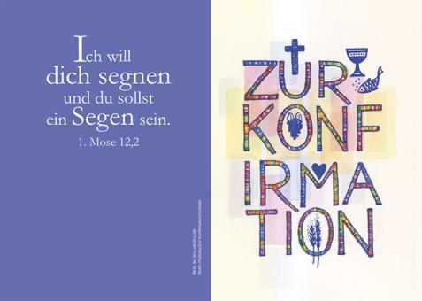Doppelkarte m. Umschlag - Zur Konfirmation - Symbole
