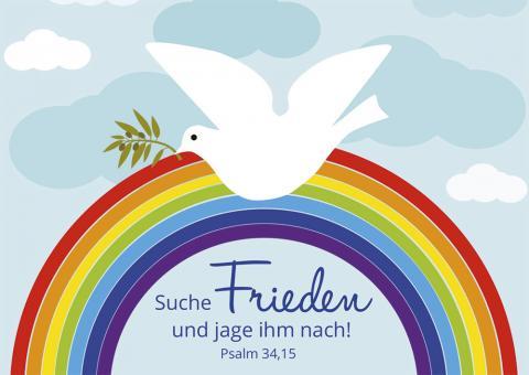 Poster A3 - Suche Frieden und jage ihm nach - Regenbogen