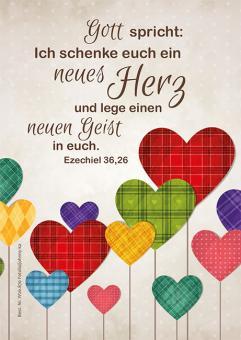 Poster A4 - Ein neues Herz - Bunte Herzen
