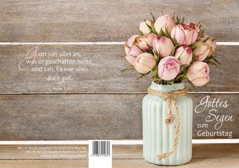 Doppelkarte plano - Blumenstrauß - Gottes Segen zum Geburtstag