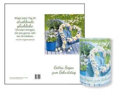 Lichtkarte - Blumenherz - Gottes Segen zum Geburtstag / Irischer Segenswunsch