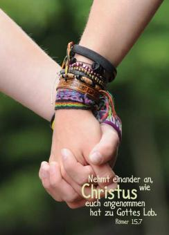 Postkarte A6 - Nehmt einander an - Armbänder/Jugend