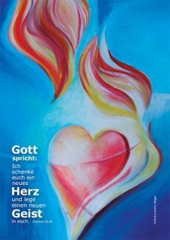 Postkarte - Ein neues Herz - Rieger blau