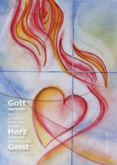 Postkarte - Ein neues Herz - Rieger Kreuz