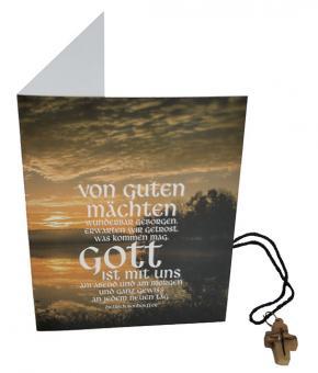 Doppelkarte mit Kreuz-Kette u. Umschlag - Bonhoeffer