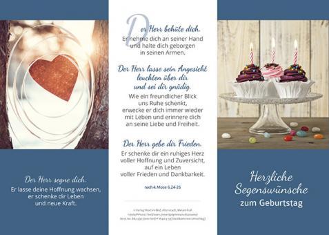 Dreifachkarte mit Umschlag - Herzliche Segenswünsche zum Geburtstag