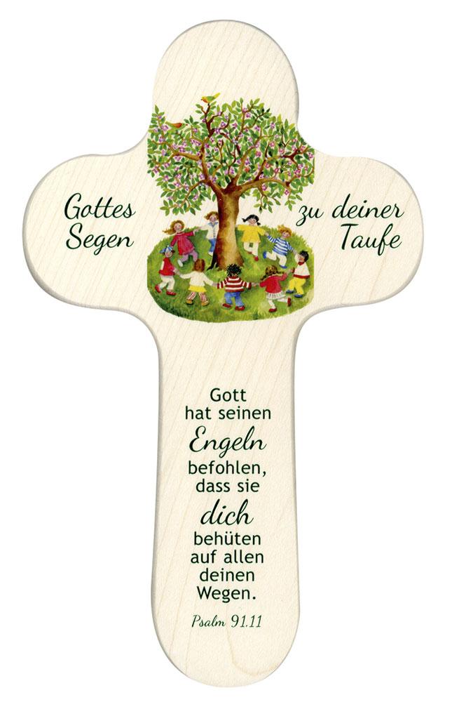 Holzkreuz 20x12 Cm Rund Baumkinder Gottes Segen Zu Deiner Taufe