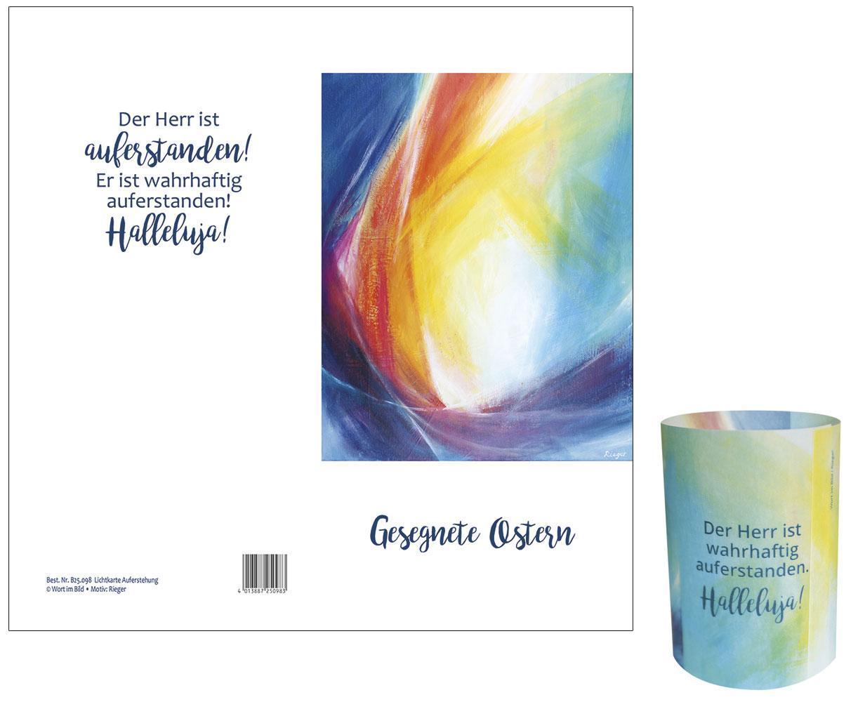 Schmuckkarte 4 Oster Grußkarten Neu mit Umschlag Auferstehung Christi